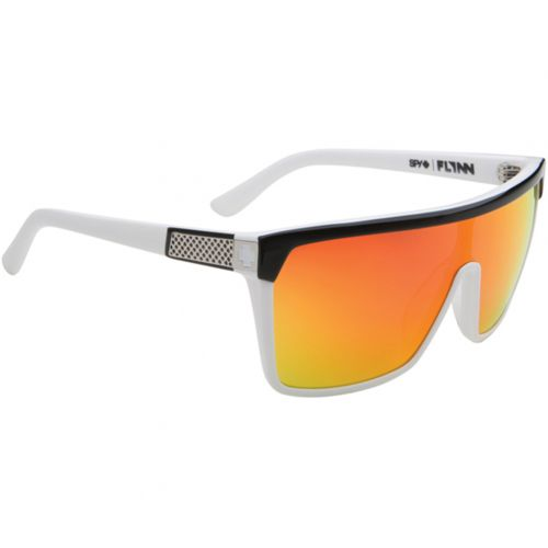 Spy Optic Flynn Core Collection Adult Sunglasses, color: Black/White/Grey with Red Flash Mirror, category/department: men-sunglasses, women-sunglasses